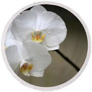 Wet White Orchids Round Beach Towel