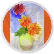 Wet Zinnias Round Beach Towel