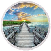 Wetland Marsh Sunrise Treasure Coast Florida Boardwalk A1 Round Beach Towel