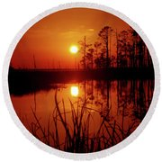 Round Beach Towel featuring the photograph Wetland Sunset by Robert Geary
