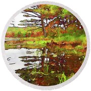 Round Beach Towel featuring the photograph Wetland Transition by Betsy Zimmerli