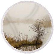Round Beach Towel featuring the painting Wetland Wonders Of Winter by Jordan Blackstone