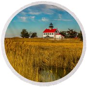 Round Beach Towel featuring the photograph Wetlands At East Point Light by Nick Zelinsky