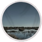 Wetlands Desaturated  Round Beach Towel