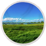 Wetlands On A Windy Spring Day Round Beach Towel