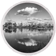 Wetlands Panorama Monochrome Round Beach Towel