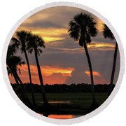 Wetlands Sunset Round Beach Towel