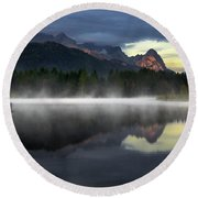 Wetterstein Mountain Reflection During Autumn Day With Morning Fog Over Geroldsee Lake, Bavarian Alps, Bavaria, Germany. Round Beach Towel