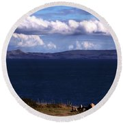 Round Beach Towel featuring the photograph Weymouth Bay by Baggieoldboy