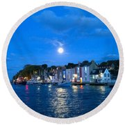 Round Beach Towel featuring the photograph Weymouth Harbour, Full Moon by Anne Kotan