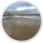 Round Beach Towel featuring the photograph Weymouth Morning by Anne Kotan
