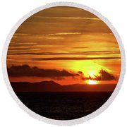 Round Beach Towel featuring the photograph Weymouth Sunrise by Baggieoldboy