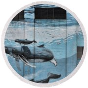 Whale Deco Building  Round Beach Towel