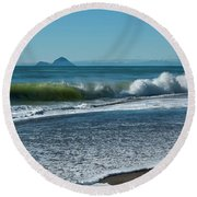 Round Beach Towel featuring the photograph Whale Island by Werner Padarin