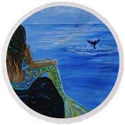Whale Watcher Round Beach Towel by Leslie Allen