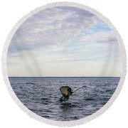 Whale Watching In Canada Round Beach Towel