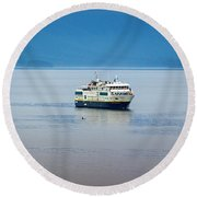 Whale Watching In Glacier Bay Round Beach Towel
