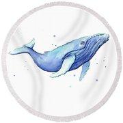 Whale Watercolor Humpback Round Beach Towel by Olga Shvartsur