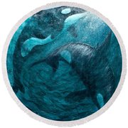 Whales  Ascending  Descending Round Beach Towel