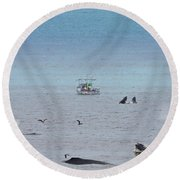 Whales At Sea - Collage Round Beach Towel