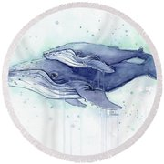 Whales Humpback Watercolor Mom And Baby Round Beach Towel by Olga Shvartsur