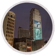 Whales In Detroit  Round Beach Towel