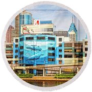 Whales In The City Round Beach Towel