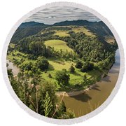 Round Beach Towel featuring the photograph Whanganui River Bend by Gary Eason