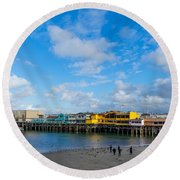 Wharf And Beach Round Beach Towel