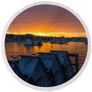 Wharf Sunset Round Beach Towel