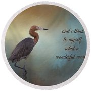 What A Wonderful World Round Beach Towel by Kim Hojnacki
