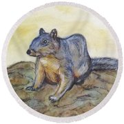 What Are You Looking At? Round Beach Towel by Clyde J Kell
