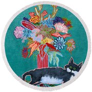 What Flowers Round Beach Towel