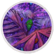 Fuzzy Little Monsters Round Beach Towel