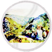 What Lies Ahead Round Beach Towel