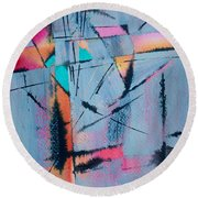 Round Beach Towel featuring the painting What Lies Beneath by Nancy Jolley