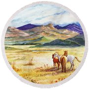Round Beach Towel featuring the painting What Lies Beyond by Marilyn Smith
