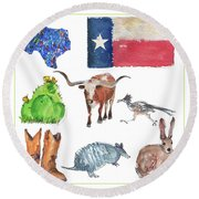 What Texas Loves, Texas Longhorn Watercolor Painting By Kmcelwaine Round Beach Towel