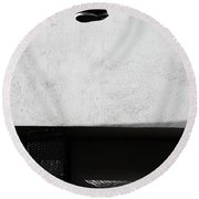 Round Beach Towel featuring the photograph What That For Me  by Empty Wall
