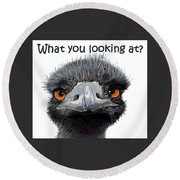 What You Looking At? Round Beach Towel