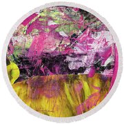 Whatever Makes You Happy - Large Pink And Yellow Abstract Painting Round Beach Towel