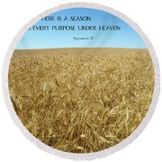 Wheat Field Harvest Season Round Beach Towel