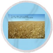 Wheat Field Harvest Season Round Beach Towel