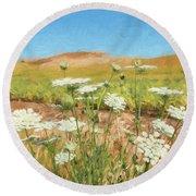 Wheat Field Wildflowers Round Beach Towel