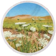 Wheat Field Wildflowers Round Beach Towel