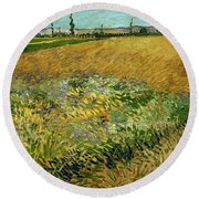 Wheat Field With Alpilles Foothills In The Background At Wheat Fields Van Gogh Series, By Vincent  Round Beach Towel