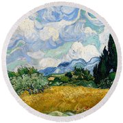 Round Beach Towel featuring the painting Wheatfield With Cypresses by Van Gogh