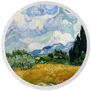 Wheat Field With Cypresses Round Beach Towel