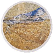 Wheat Field With Reaper Harvest In Provence Round Beach Towel