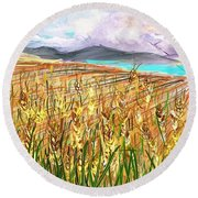 Wheat Landscape Round Beach Towel